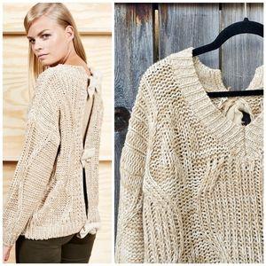 POL Tan Cream Bow Back Chunky Sweater